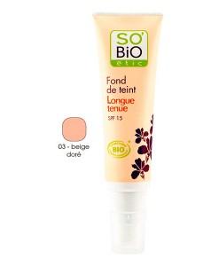 Base de maquillaje fluido de larga duración 03 beige doré 30ml So Bio Etic